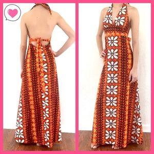 Dresses & Skirts - Vintage Hawaii floral halter open back maxi dress